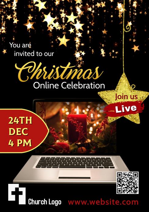 Christmas Online Celebration A4 template