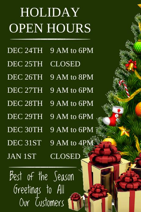 Christmas Open Hours