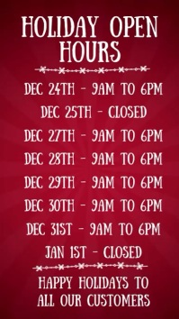 Christmas Open Hours Digital Template Display digitale (9:16)