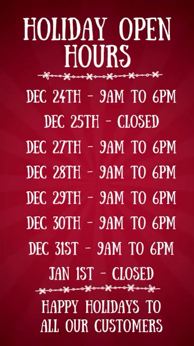 Christmas Open Hours Digital Template
