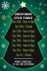Christmas Open Hours Template Poster