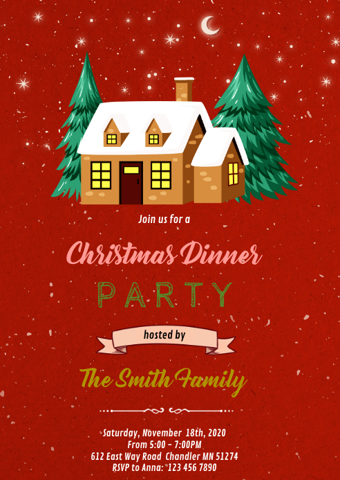 Christmas open house party invitation A6 template