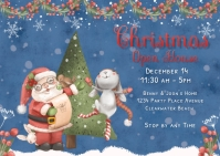 Christmas Open House Postcard Invitation template