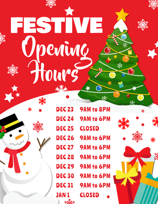 Christmas Hours.Christmas Opening Hours Poster Template Postermywall