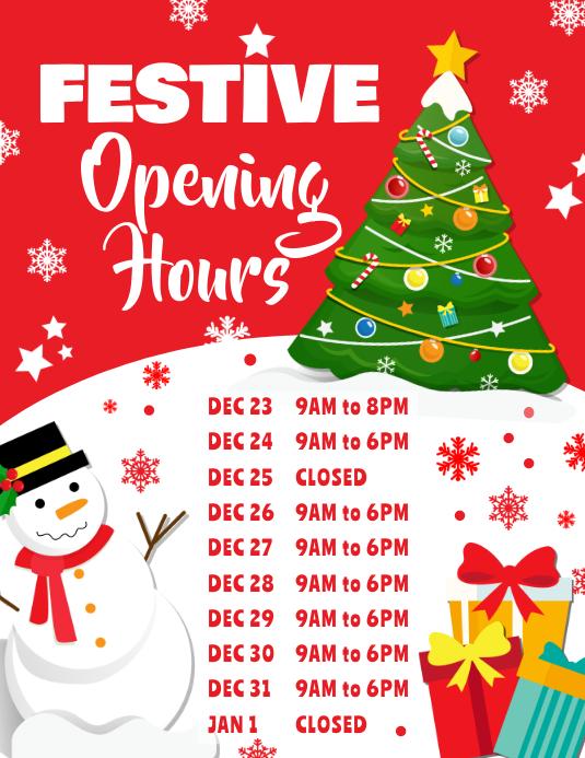 Christmas Opening Hours Poster Template 传单(美国信函)