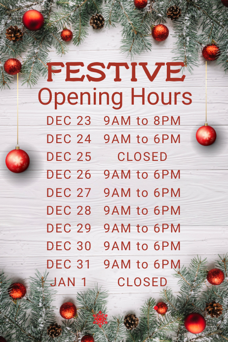 Christmas Opening Hours Poster Template