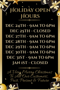 Christmas Opening Hours Template Poster