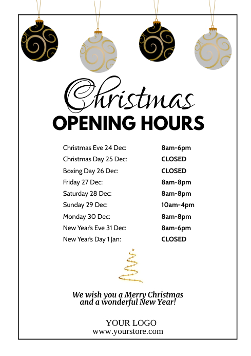 Christmas Opening Hours Times Poster Business