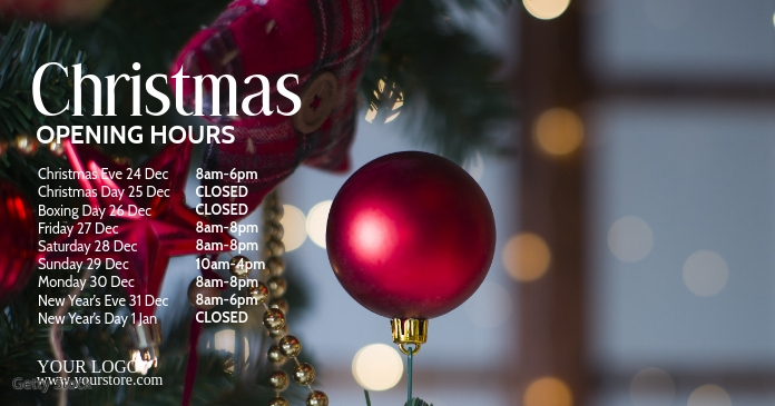 Christmas Opening Times Advert Tree Deco Ad
