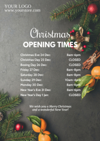 Christmas Opening Times hours dates table ad