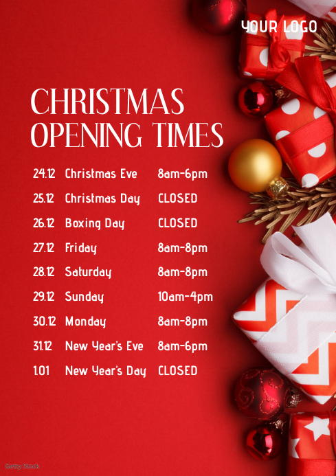 Christmas Opening Times Hours Flyer Poster Ad A4 template