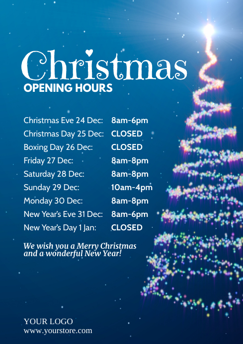 Christmas Opening Times Hours Holidays Cover A4 template