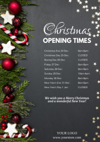 Christmas Opening Times Hours Poster Flyer Ad