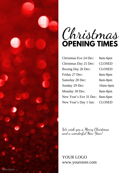 Christmas Opening Times Hours Poster Flyer Ad A4 template