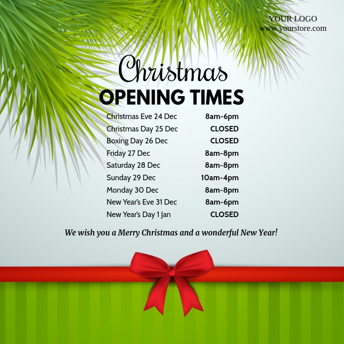 Christmas Opening Times Hours Square Ad