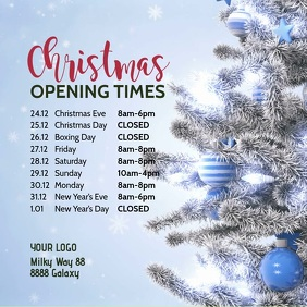 Christmas Opening Times Hours video Square Ad
