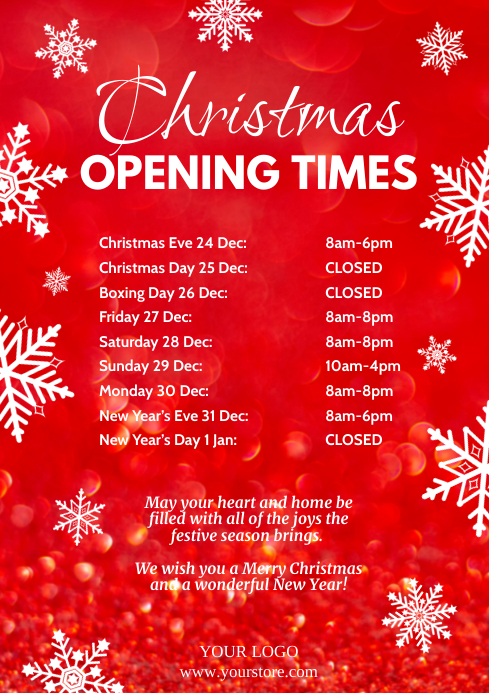 Christmas Opening Times Retail Shop Holidays A4 template
