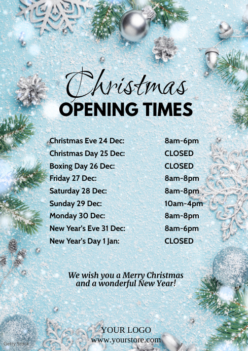 Christmas Opening Times Snow Flakes Din Shop