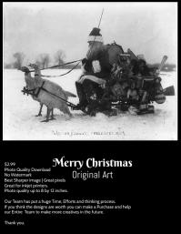 Christmas original Art greetings template