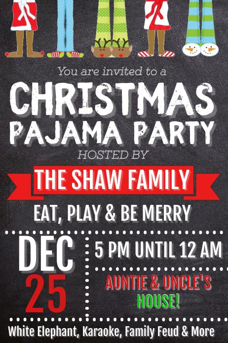 Christmas Pajama Party Poster template
