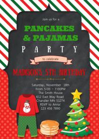 Christmas pancake birthday invitation