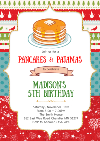 Christmas pancake birthday invitation