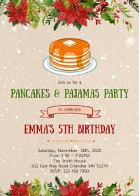 Christmas pancake birthday party invitation