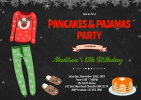Christmas pancakes pajamas party invitation A6 template