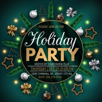 christmas party, holiday party instagram post Square (1:1) template