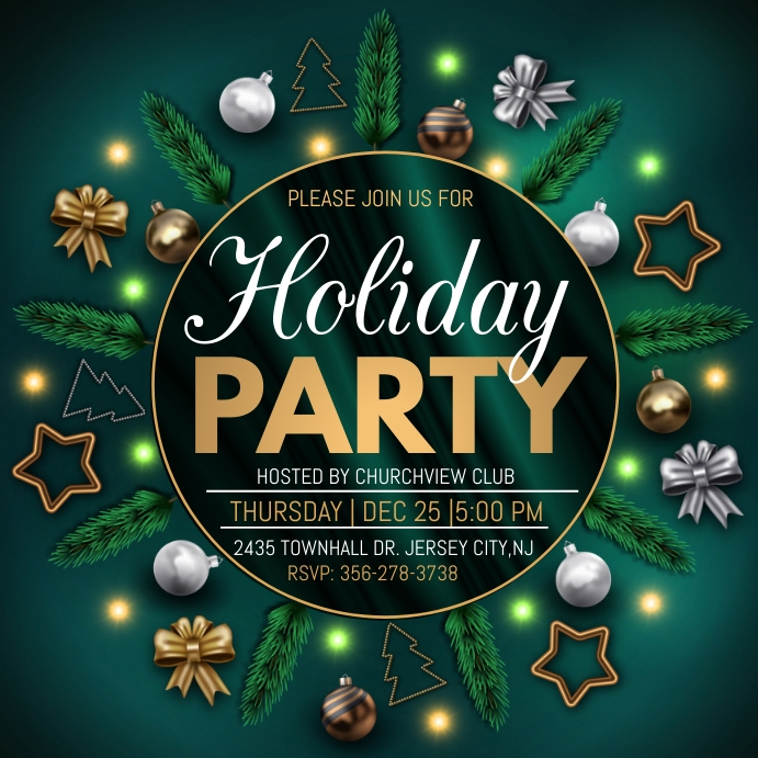 christmas party, holiday party instagram post Quadrado (1:1) template