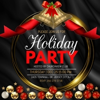 christmas party, holiday party instagram post Quadrato (1:1) template