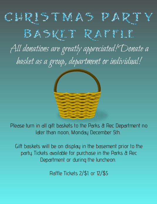 christmas party basket raffle template postermywall