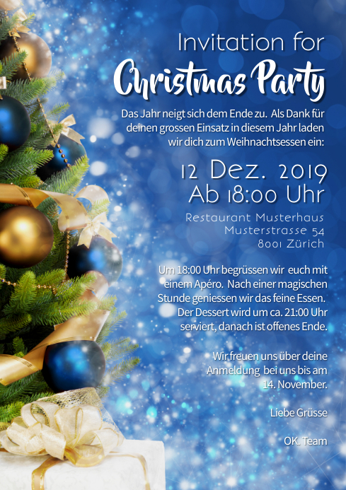 Christmas Party Business event Invitation A4