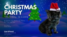 Christmas Party Cat Santa Video Event Advert