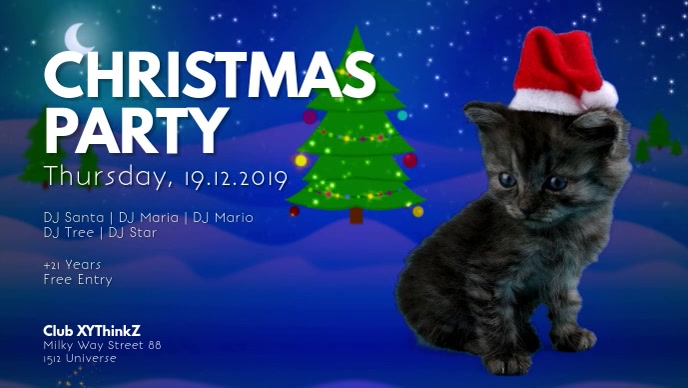Christmas Party Cat Santa Video Event Advert