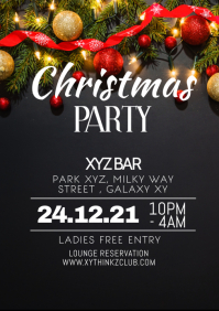 Christmas Party Club Bar Event Show Flyer ad A4 template