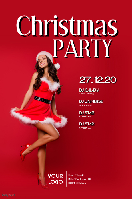Christmas Party Club Bar Event Show Poster ad