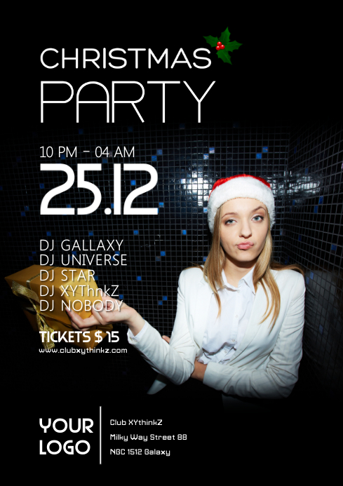 Christmas Party Club Bar Funny EDM Disco Ad