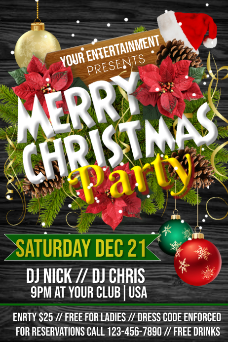 Christmas Party Plakat template