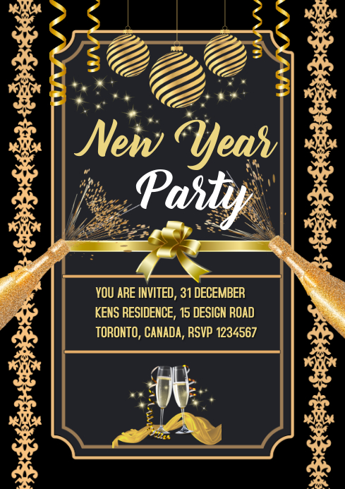 New Year Event Invitation Card Template