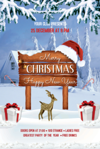 Christmas Party Flyer Banner 4 x 6 fod template