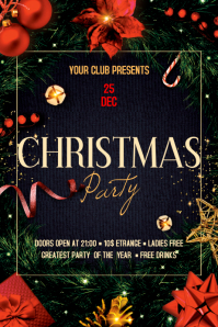 Christmas Party Flyer Spanduk 4' × 6' template