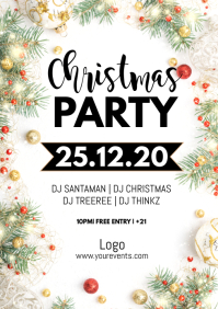 Christmas Party Flyer Event Poster Decoration A4 template