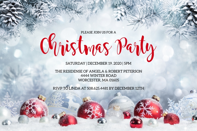 Christmas Party Invitation Etiqueta template