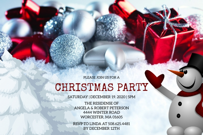 Christmas Party Invitation Label template