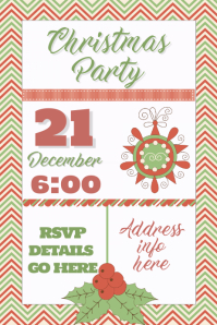 Christmas Party Invitation Dinner Cookie Exchange Event Temp