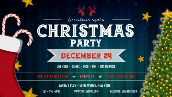Christmas Party Invitation Facebook Cover Video Ikhava Yevidiyo ye-Facebook (16:9) template