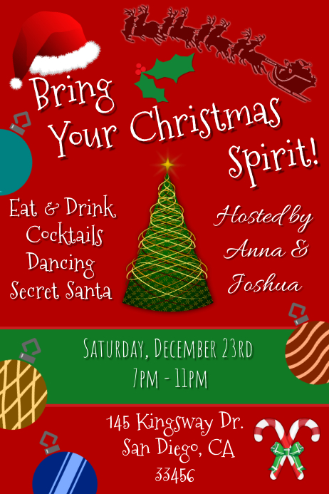 Christmas Party Flyer Template.Christmas Party Invitation Template Postermywall