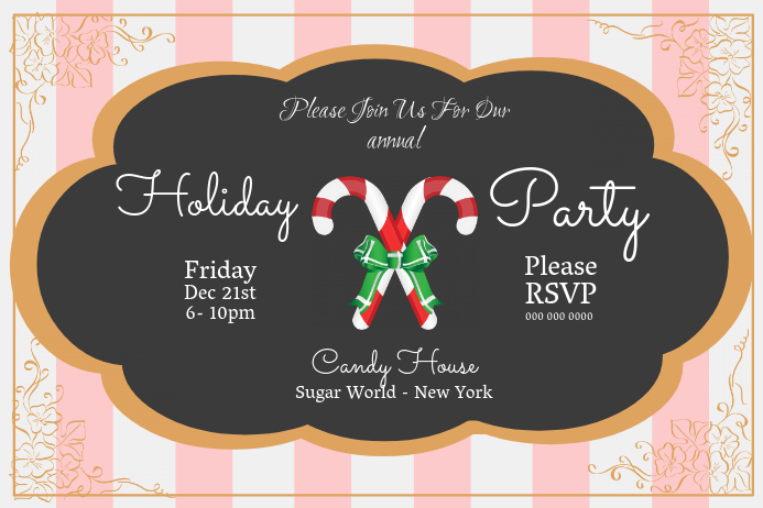 Christmas Party Invitation Landscape Poster template
