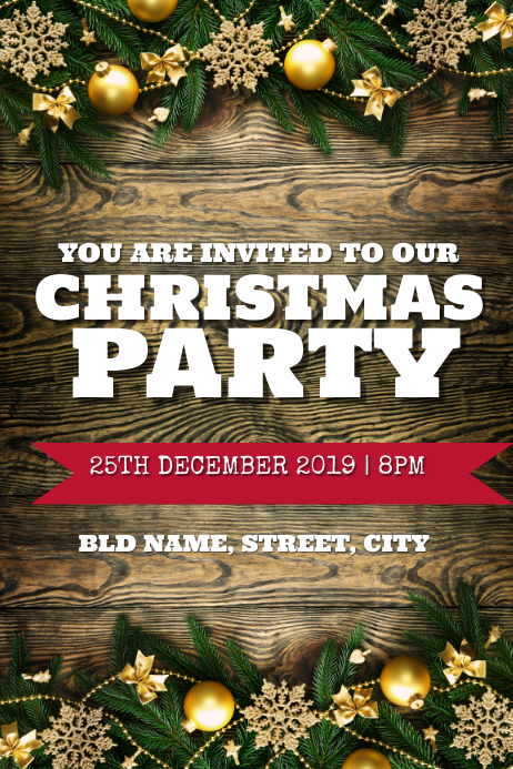 Christmas Party Invite Template Postermywall